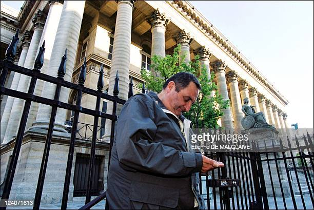 Illustration stock exchange of Paris In France On June 26 2002 Homeless in front of stock exchange of Paris