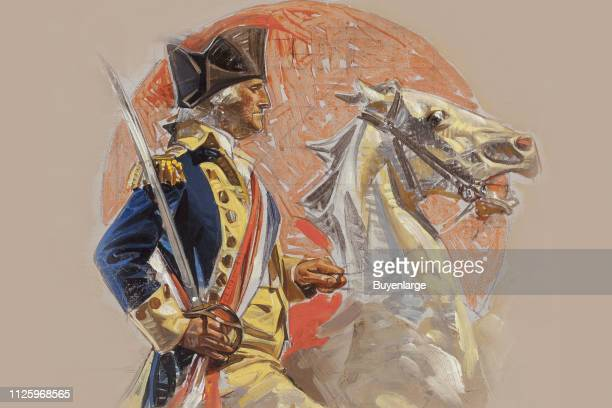 Illustration study features George Washington his sword drawn as he rides a horse 1917 The final version of the image appears on the cover of the...