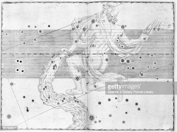 Illustration taken from 'Uranometria' by Johann Bayer showing the zodiacal constellation of Aquarius German astronomer and lawyer Johann Bayer...