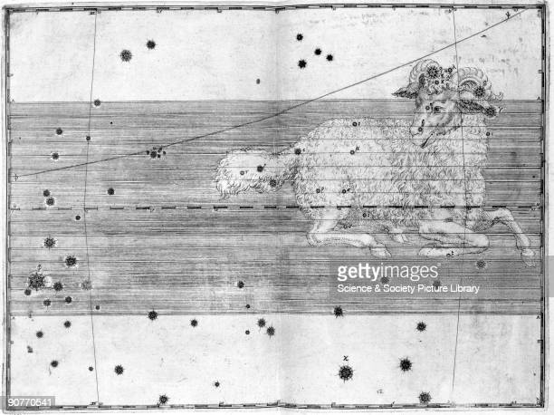 Illustration taken from 'Uranometria' by Johann Bayer showing the zodiacal constellation of Aries German astronomer and lawyer Johann Bayer invented...