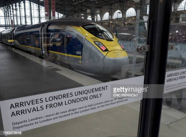 Illustration taken on January 11 2019 at Gare du Nord railway station in Paris shows an Eurostar train at a standstill