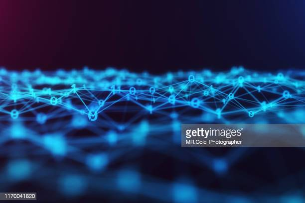 3d illustration technology abstract background,futuristic digital landscape data analysis wave  .background for business, science and technology - joining the dots stock pictures, royalty-free photos & images