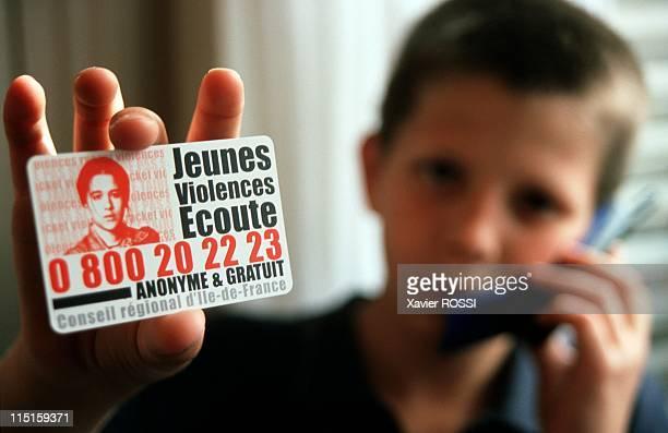 Illustration the racket 'jeunes violences ecoute' in France on June 13 2000