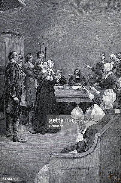 Illustration 'THERE IS A FLOCK OF YELLOW BIRDS AROUND HER HEAD' depicting the accusation of a bedeviled girl during the Salem witch trials Engraving...