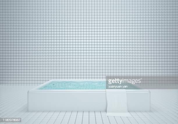 3d illustration tiles wall interiors backgrounds - 風呂に入る ストックフォトと画像