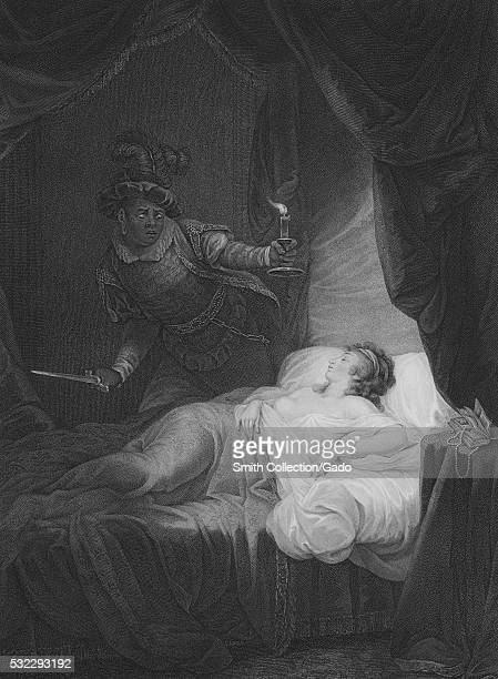 Illustration titled 'A Bedchamber Desdemona in Bed asleep' from Othello part of 'A Collection of Prints from Pictures Painted for the Purpose of...