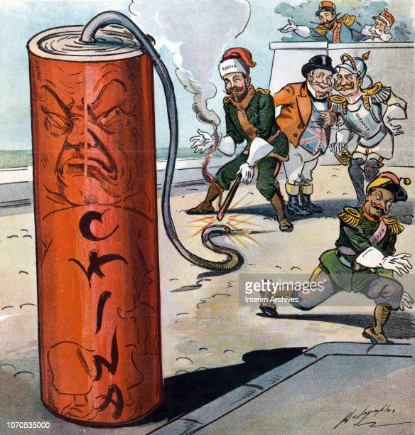 Illustration titled 'A Dangerous Firecracker' shows the Czar of Russia as he lights the fuse of a firecracker labeled 'China' while the rulers of...