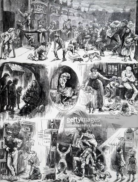 Illustration titled 'A Day in Town' children in poor districts of London Illustrated by Harry Furniss an Irishborn English artist and illustrator...