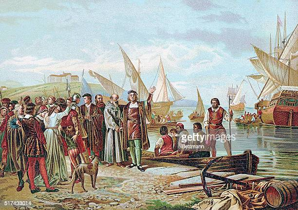 Illustration titled 'Embarkation and Departure of Columbus from the Port of Palos' On His First Voyage of Discovery On The 3rd of August 1492 Undated...