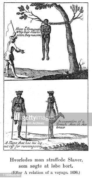 Illustration titled 'Hvorledes man straffede slaver som sogte at lobe bort' seventeenth century It features two illustrations At top a Portuguese...