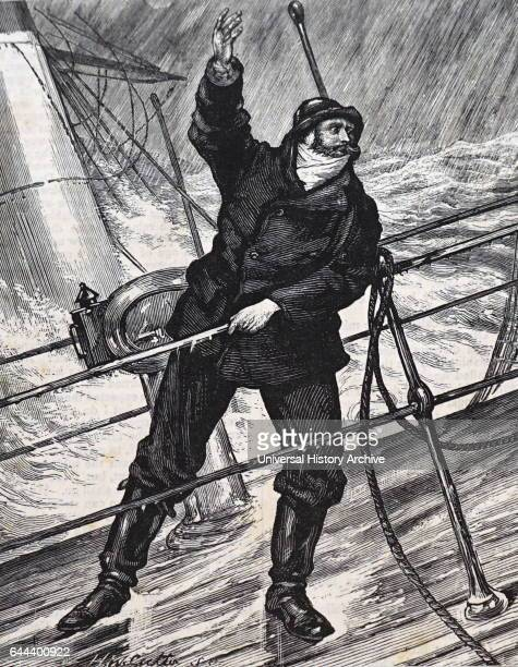 Illustration titled 'Lower the Lifeboat' depicting a man shouting during a raging storm Dated 19th Century