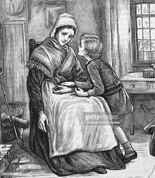 Illustration titled 'One Parent Family' depicting a widow worn out by grief and poverty, being comforted by her little boy. Dated 19th Century.