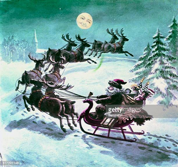Illustration to Clement Moore's Twas The Night Before Christmas with Santa riding sleigh