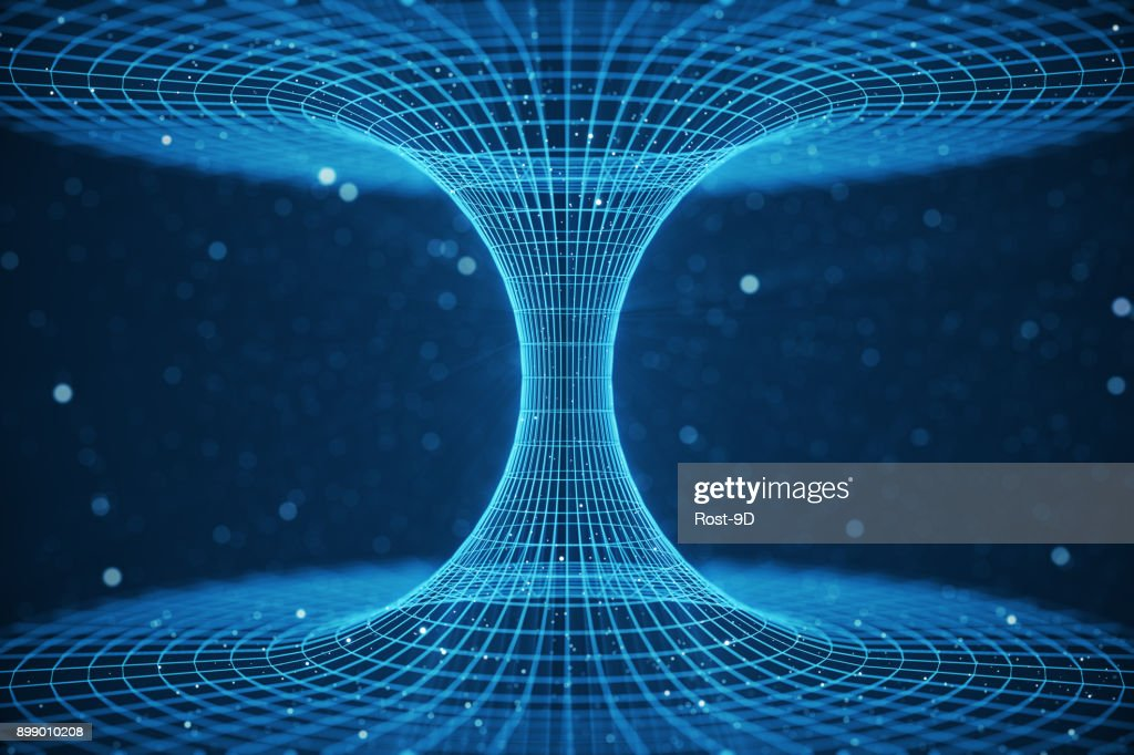 3D illustration tunnel or wormhole, tunnel that can connect one universe with another. Abstract speed tunnel warp in space, wormhole or black hole, scene of overcoming the temporary space in cosmos : Stock Photo