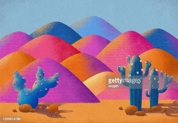 illustration vibrant idyllic desert landscape with saguaro cactus. multi colored textured art - mexico stock pictures, royalty-free photos & images