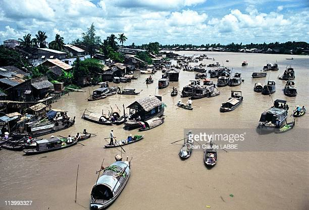 Illustration Vietnam from north to south in Can ThoVietnam in May 1994Can Tho floating market of the Mekong delta's capital