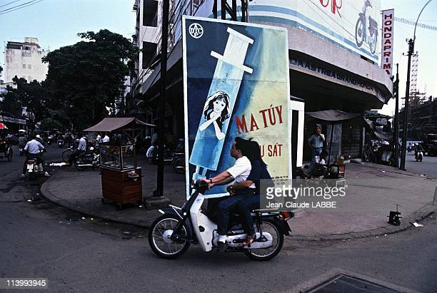 Illustration Vietnam from north to south in Ho Chi Minh City Vietnam in May 1994Antidrug poster in Ho Chi Minh City