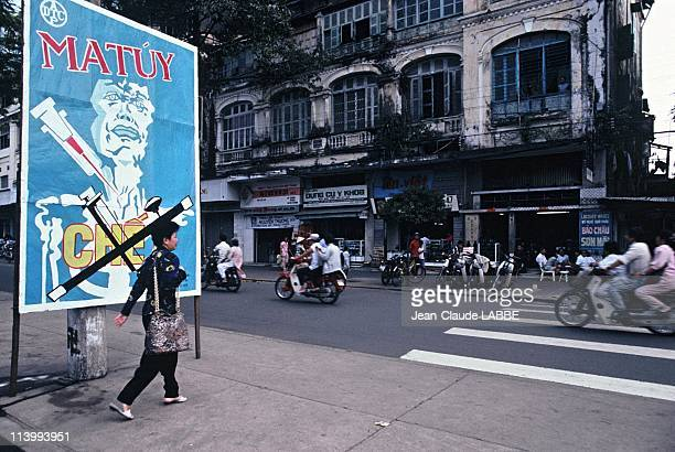 Illustration Vietnam from north to south in Ho Chi Minh City Vietnam in May 1994Antidrug poster