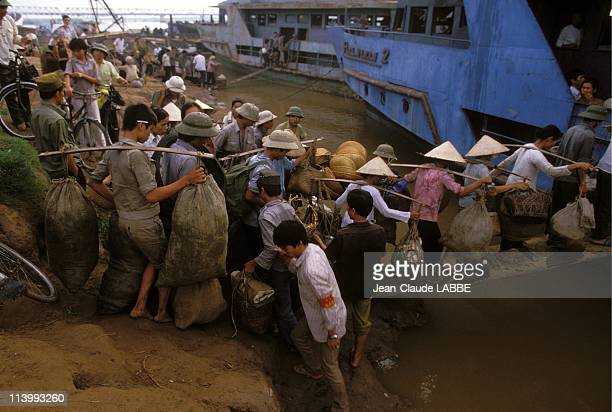 Illustration Vietnam from north to south in Hue Vietnam in May 1994Boarding for the cross of Red River