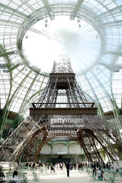 Illustration view of an Eiffel Tower in the Grand Palais during the Chanel Haute Couture Fall/Winter 20172018 show as part of Haute Couture Paris...
