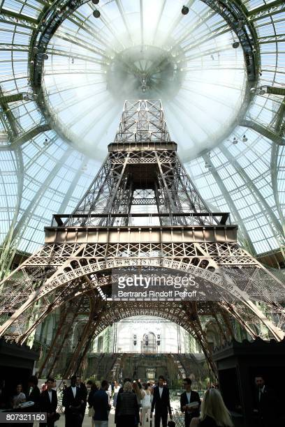 Illustration view of an Eiffel Tower in the Grand Palais during the Chanel Haute Couture Fall/Winter 2017-2018 show as part of Haute Couture Paris...