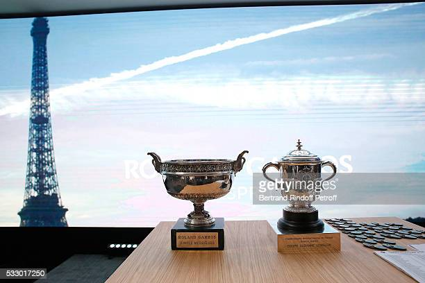 Illustration view of Cups during the 2016 Roland Garros French Tennis Open Women's And Men's Singles Draw Held at Club des Loge in Roland Garros on...