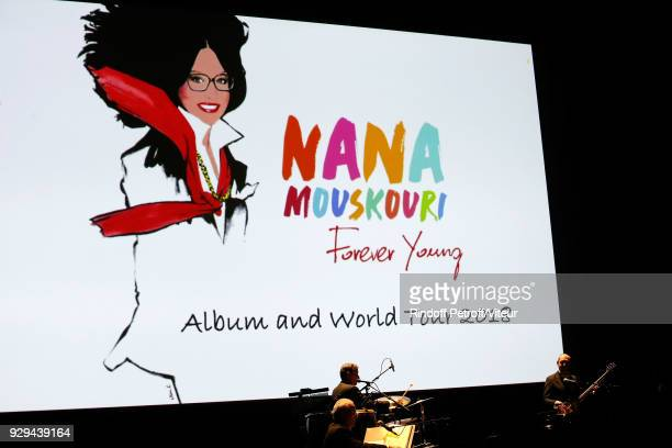 """Illustration View of """"Nana Mouskouri Forever Young Tour 2018"""" at Salle Pleyel on March 8, 2018 in Paris, France."""