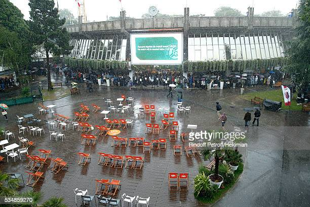 Illustration view of 'Place des Mousquetaire' during a Big Storm during Day Seven of the 2016 French Tennis Open at Roland Garros on May 28 2016 in...