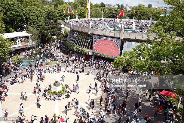 Illustration view of 'Place des Mousquetaire' in Roland Garros during the 2015 Roland Garros French Tennis Open at Roland Garros on May 24 2015 in...