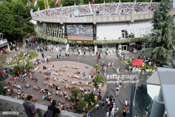 Illustration view of 'Roland Garros Beach' on 'Place des Mousquetaire' during the 2017 French Tennis Open Day One at Roland Garros on May 28 2017 in...