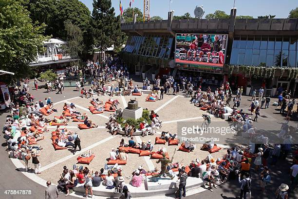 Illustration view of 'Roland Garros Beach', on the 'Place des Mousquetaires' during the 2015 Roland Garros French Tennis Open - Day Twelve, on June...