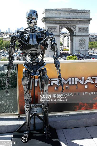Illustration view of Terminator and Paris during the France Photocall of 'Terminator Genisys' at the Publicis Champs Elysees on June 19 2015 in Paris...