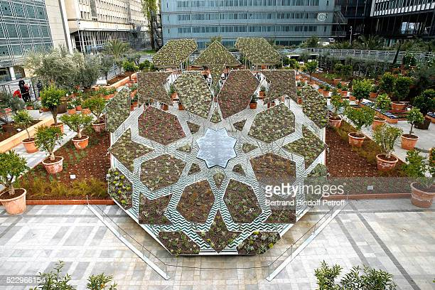 Illustration view of the 'Anamorphose' in the Ephemere Garden during the 'Jardins d'Orient' Exhibition at Institut du Monde Arabe on April 21 2016 in...