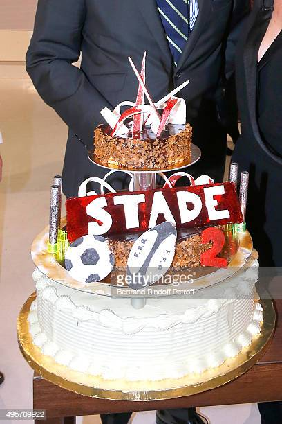 Illustration view of the Birthday Cake of the 'Stade 2' France 2 TV Chanel Sports Issue wich celebrates its 40th Birthday during the 'Vivement...