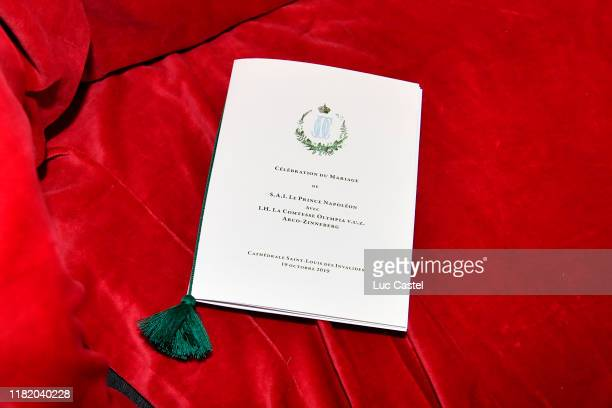 Illustration view of the Book of Mass during the Wedding of Prince JeanChristophe Napoleon and Olympia Von ArcoZinneberg at Les Invalides on October...