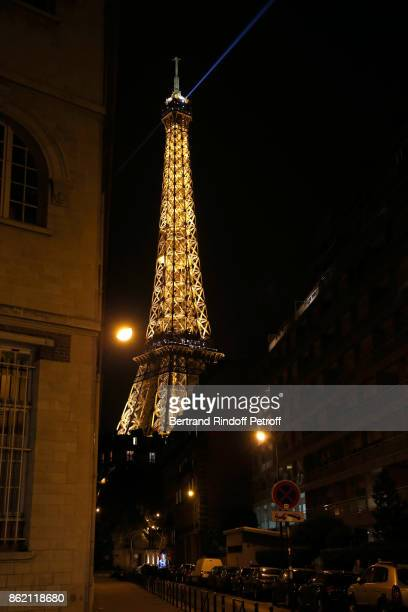Illustration view of the Eiffel Tower during the One Woman Show by Christelle Chollet for the Inauguration of the Theatre de la Tour Eiffel Held at...