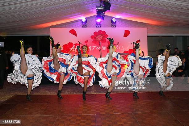 Illustration view of the 'French Cancan' during the Kenzo Takada's 50 Years of Life in Paris Celebration at Restaurant Le Pre Catelan on September 17...