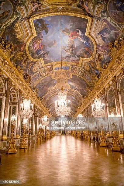 Illustration view of the 'Galerie des Glaces' in Versailles Castel whyle PasteurWeizmann Gala at Chateau de Versailles on November 18 2013 in...