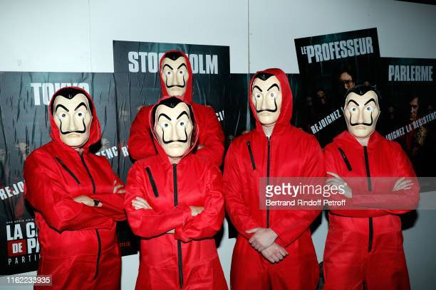 Illustration View of the La Casa De Papel Premiere At Monnaie De Paris on July 15 2019 in Paris France