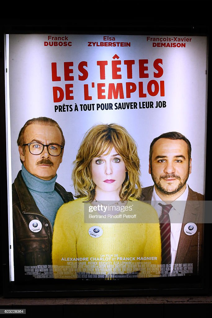Illustration view of the Poster during 'Les Tetes de l''Emploi' Paris Premiere at Cinema Gaumont Opera Capucines on November 14, 2016 in Paris, France.