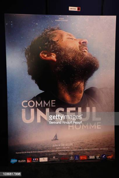Illustration view of the poster during the Comme un seul Homme As a lonely Man Documentary Film Premiere at Cinema UGC Normandie on September 20 2018...