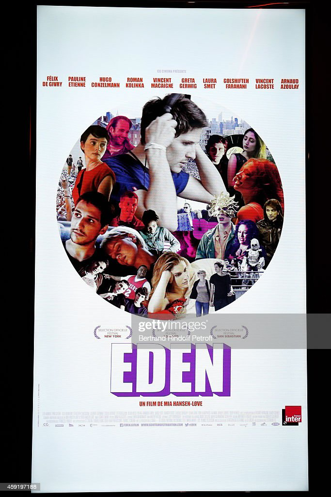 Illustration view of the poster of the 'Eden' Paris Premiere at Cinema Gaumont Marignan on November 18, 2014 in Paris, France.