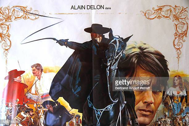 Illustration view of the Poster of the movie Zorro during Weapons of French Actor Alain Delon displayed before Auction to be held on Monday December...