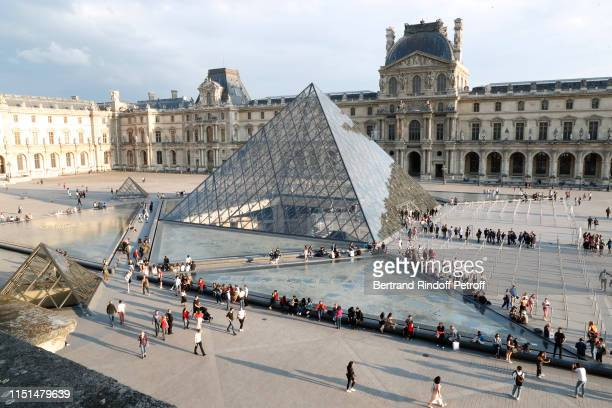 "Illustration view of the ""Pyramide du Louvre"" from the ""Terrasse Colbert"" during the Jean-Michel Othoniel ""La Rose du Louvre"" Exhibition Preview at..."