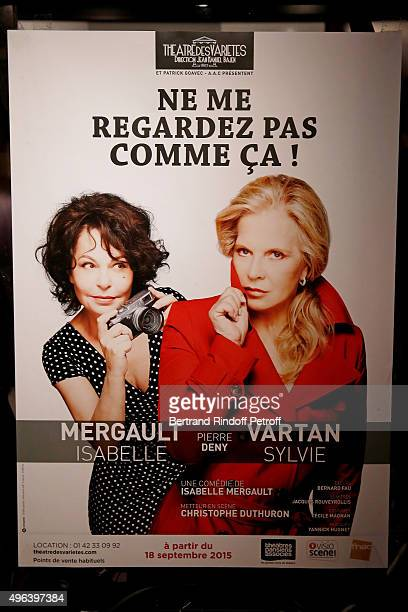 Illustration view of thePoster of the Theater Play 'Ne me regardez pas comme ca ' performed at 'Theatre Des Varietes' on September 25 2015 in Paris...