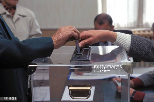 Illustration Voting for Local Election in France on May 25 1997 Philippe de Villiers Voting in Vendee Department