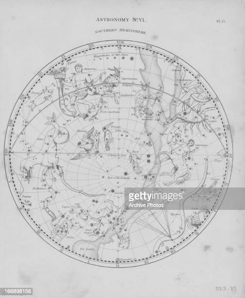 Illustration with associated mythological forms of constellations in the night sky in the Southern Hemisphere