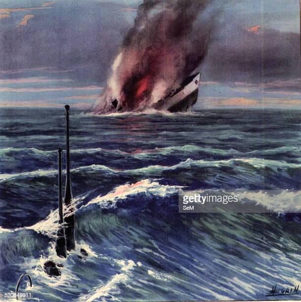 Illustration World War II war at sea 1940 1945-Italian Navy. Italian submarines and submarine warfare. BETASOM, Italian language acronym of Bordeaux...