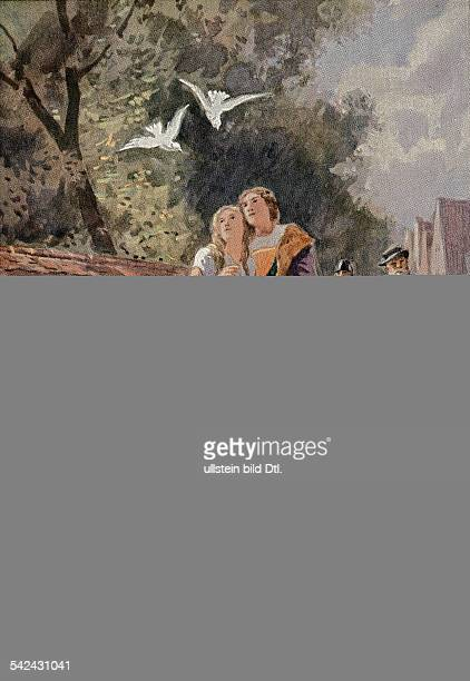 Illustration zu 'Aschenputtel' einem Märchen aus den 'Kinder und Hausmärchen' 1812 1815 hrsg von Jacob und Wilhelm Grimm oJ paar prinz pferd