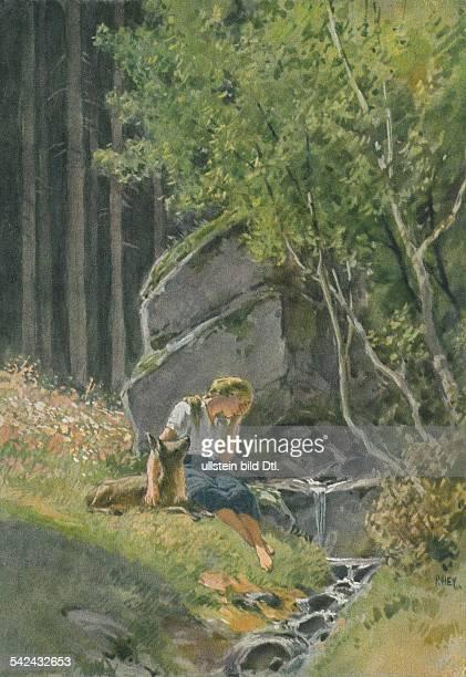 Illustration zu 'Brüderchen und Schwesterchen' einem Märchen aus den 'Kinder und Hausmärchen' 1812 1815 hrsg von Jacob und Wilhelm Grimm oJ reh bach...